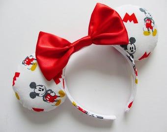 Mickey Mouse Cartoon Print Mouse Ears Headband