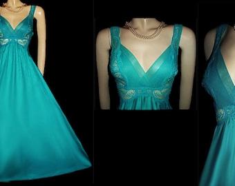 Vintage Rare Style Olga Vandermere Rare Color Pleated Chiffon Lace bodice Spandex Nightgown Aquatic Turquoise olga nightgown lace nightgown