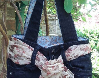 Upcycled Denim Jeans Tote Bag