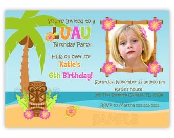 Luau/Hula Birthday Party Photo Card Invitation (You Print)