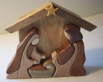 Wood intarsia Nativity Scene, Baby Jesus, Mary, Joseph, Nativity