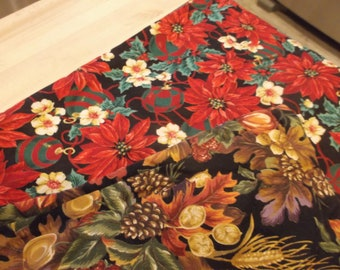 Vintage Reversible Table Runner One Side Fall Other Side Christmas