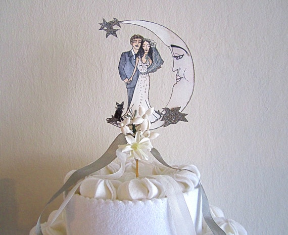 Personalized Wedding Cake Topper - Portrait - Custom Illustrated - Hand Painted