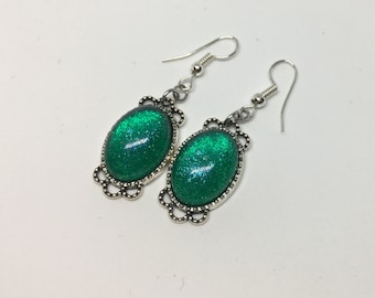 Shimmering green resin pendant earrings-Silver base-handmade by Khalacrea
