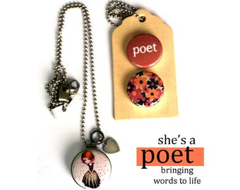 POET Locket Necklace - Gift for Poet, Magnetic, Interchangeable, Poetry Gift for Girl, Archetype. Holds a Picture, Polarity, Solocosmo