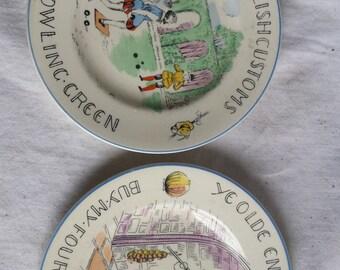 Vintage Staffordshire Ye Olde English Customs Plates c. 1960's