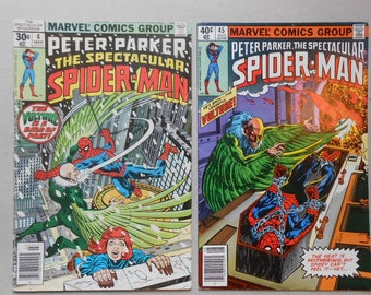 Spider Man Vs Vulture; Spectacular Spider Man #4 and #45;  Spider Man Homecoming Movie; Early Vulture; 1st Hitman; Fine Grade!