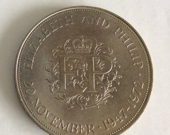 1972 Crown Coin - Queen Elizabeth II & Philip Silver Wedding 25th Anniversary - British Coins - Commemorative Coin - Collectable Coins