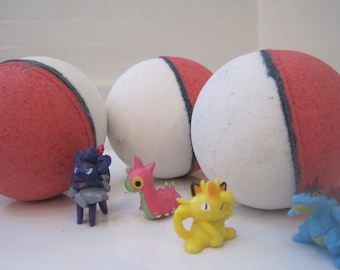 FREE SHIPPING - POKEBOMS - Bath bombs with Pokemon figure inside