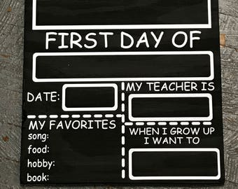 First Day Back to School Chalk Board Sign Photo Prop