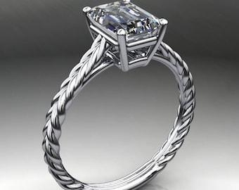 ivy ring – 1.75 carat emerald cut NEO moissanite engagement ring, bezel set engagement, braided engagement ring