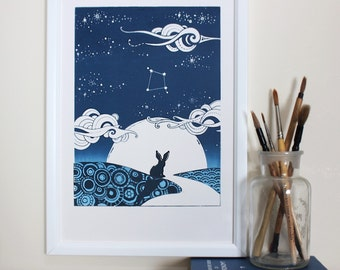Big sky, little A4 personalised screen print for abundance