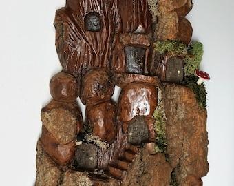 Carved Cottonwood bark Whimsical House