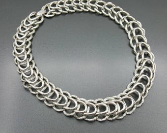 Layered Silver tone chain Necklace