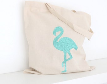 Glitter Flamingo Tote Bag - Bachelorette Party Tote, Bridal Tote Bags, Wedding Totes, Custom Tote Bags, Market Bag, Canvas Tote
