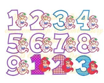Meerjungfrau set 1-9 Geburtstag Stickerei Applikation Design, Prinzessin Maschinenkonstruktion Stickerei, Gr-002-1-9