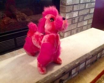 Vintage Pink Stuffed Animal Poodle