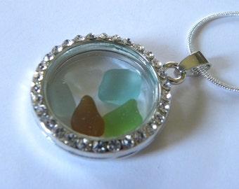 Round locket sea glass necklace - locket pendant, white or sea foam sea glass pendant, sea glass necklace, silver locket