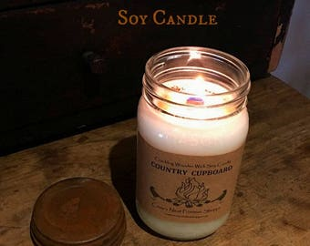 16 ounce Crackling Wooden Wick Natural Soy Candles- Hand poured in mason jars with Primitive Rusty Lid Lots of scents to choose from