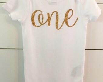 Gold Glitter Birthday Outfit // First Birthday Shirt // Age Birthday