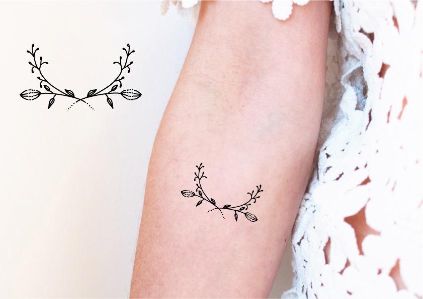 2 tatouages temporaires couronne fleur tatouage floral. Black Bedroom Furniture Sets. Home Design Ideas