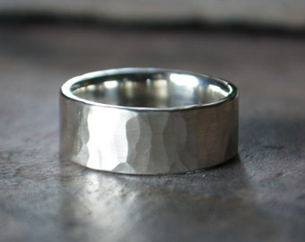 Distressed Silver Mens Wedding Band Mens Silver