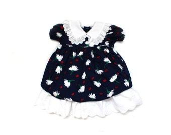 vintage dress girls childrens clothing navy blue white floral print eyelet trim size 4