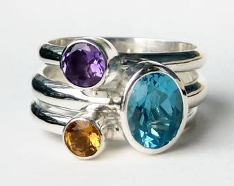 Mothers Ring -  3 Birthstone Stacking Rings w/ 8x6 mm  Gemstone - Stackable Rings -  Family Ring -  Birthstone Rings - Sterling Silver