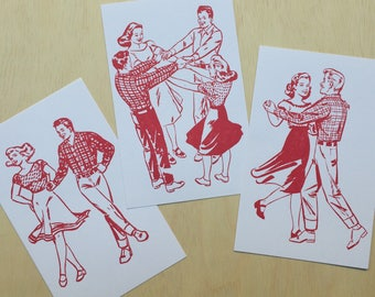 3, Square Dance prints Red, couples dancing art, dancing wall art, square dance, folk dancing, gifts for dancers, dance cards, square dance