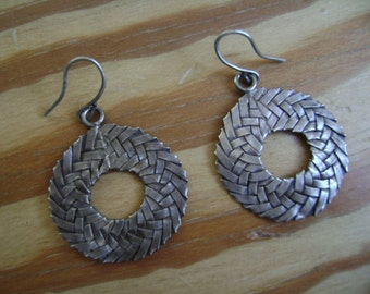 woven wreaths:  vintage silver circle earrings