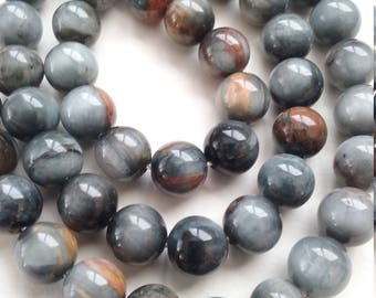 10 pearls 8mm natural stone or PIETERSITE ref 7641289 grey eagle eye