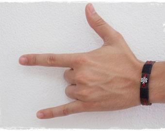 Endless Knot Bracelet, Men's Infinity Bracelet, Celtic Bracelet, Men's Leather Bracelet, Infinity Leather Bracelet, 3rd Anniversary Bracelet