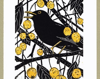 Blackbird bird print, limited edition handcut linocut print