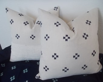 Sale Hill Tribe Cotton Hmong  Off White with Indigo details pillow cover