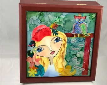 "Alcohol Ink Keepsake/Jewelry Box,  Alcohol Ink Painting, Mixed Media, Original Art, Caity's  Girl, "" what seems ordinary...."