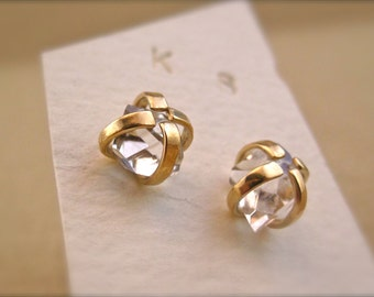 Herkimer Diamond Earrings in Solid 14 Karat Gold