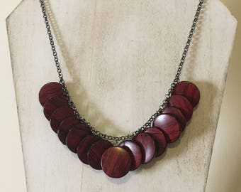 Vintage Faux Wood Coin Bead Bauble Necklace On a Gunmetal Chain