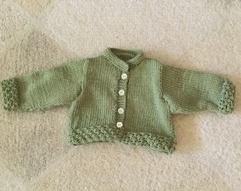 Cashmere and merino wool baby cardigan, hand knitted