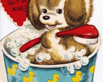 Vintage 1960's Here's Soapin' You'll Be Mine Puppy Greetings Card (B7)