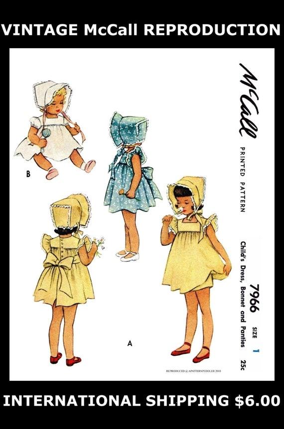 McCall 7966 BABY Mütze Kleid Kleid & Höschen Schnittmuster