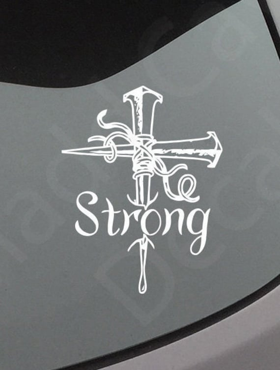 Strong Cross Vinyl Decal Car Graphic Jesus Church Sticker