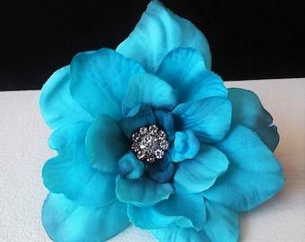 Ready to Ship Aqua Hair Flowers-Teal Hair Flowers- Wedding Hair Flowers-Prom Hair Flowers-Hair Accessories