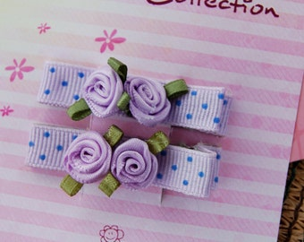 Set of 2 Hair Clips - Lilac with polka dots and satin roses  -  For girls of any age.