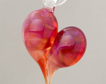 Lampwork Off mandrel heart pendant Focal bead made of Boro glass