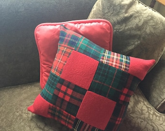 Christmas Vintage Wool Plaid Patchwork Tartan pillow cover. One of a Kind!