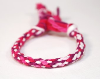 Childrens Bracelet Kumihimo Toddler Dark Pink Maroon Cotton Fibre Kids Jewelry