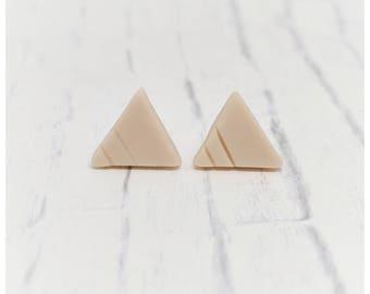 pink triangle stud earrings polymer clay earrings lightweight earrings nickel free earrings blush earrings minimalist earrings
