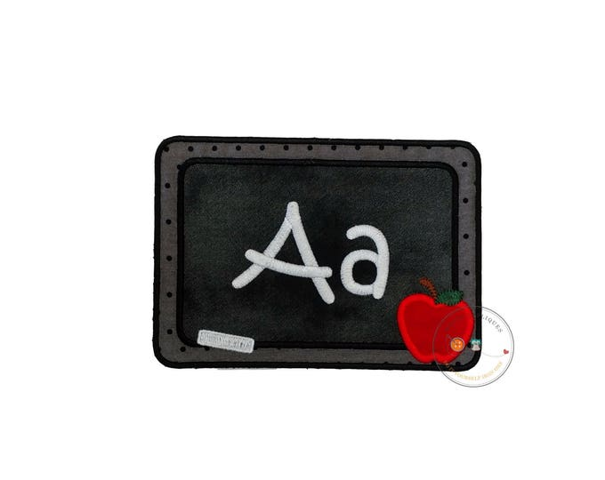 Blackboard with chalk letters iron on applique, machine embroidered iron on back to school patch, fabric no sew chalkboard patch