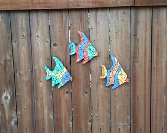 Tropical fish, Outdoor sculptures, fish sculptures, yard ornaments, fence ornaments, tile fish, mosaic fish, wall hangings