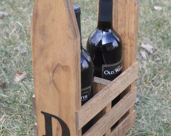Wood Burned Wine Caddy (2 Bottles) - Unique Wedding Gift - Wine Lover - Personalized Gift